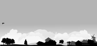 Landscape with trees and village. Grey landscape with trees and village Royalty Free Stock Image
