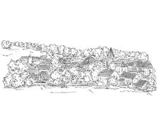 Landscape with Trees and village House. Hand drawn sketch Royalty Free Stock Photos