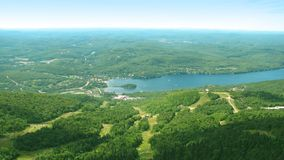 Landscape of tremblant. A landscape shot of the Mt.Tremblant area.  Showing the ski run paths down the mountain Royalty Free Stock Photos