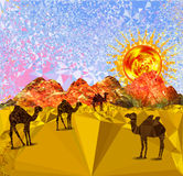 Landscape of triangles and polygons with desert, sand dunes and camels. Desert with red mountains, glowing sun and blue sky reminiscent of the cubist painting Stock Photos