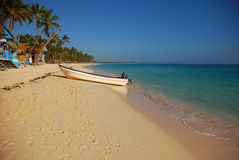 Landscape of tropical beach in Punta Cana, Dominican Republic Royalty Free Stock Photo