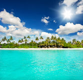 Landscape of tropical island beach. With perfect sky Royalty Free Stock Photo