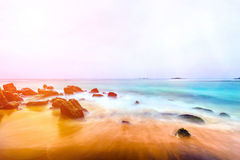 Landscape tropical rocky beach background Royalty Free Stock Photos