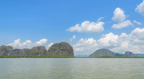 Landscape of tropical sea with limestone mountains Stock Photo
