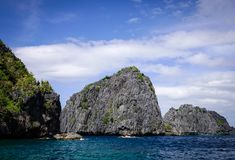 Landscape of tropical sea at sunny day. View of blue lagoon in Palawan, Philippines. Palawan is one of the most beautiful islands in the world stock photos