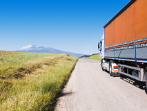 Landscape for truck on road Stock Images