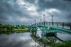 Tsaritsyno public park bridge in Moscow, Russia. stock images