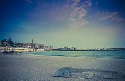 Landscape in Tunisia: the castle Ribat in the distance. Filtered image:cross processed vintage effect Stock Photos
