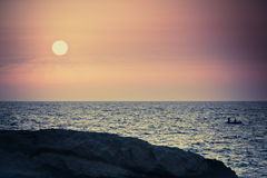 Landscape in Tunisia: sunrise on the beach. Filtered image:cross processed vintage effect Royalty Free Stock Images