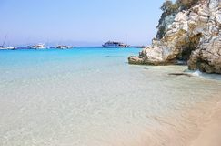 Voutoumi beach landscape at Antipaxos island Greece Royalty Free Stock Photos