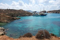 Malta, Comino: Pisturesque, scenic Blue Lagoon Beach. Landscape of turquoise water at Blue Lagoon Beach at Comino Island, Malta. The Beach is one of the most Royalty Free Stock Image