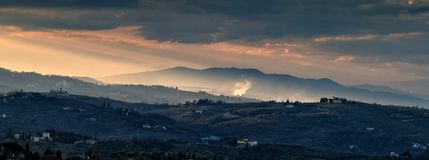 Landscape in the Tuscan Countryside in Chianti near Florence Royalty Free Stock Images