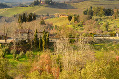 Landscape in the Tuscan Countryside in Chianti near Florence Royalty Free Stock Photo