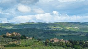 Landscape of Tuscany: The hills of Chianti south of Florence. Landscape of Tuscany: hills, farmhouses, olive trees, cypresses, vineyards. The hills of Chianti stock image