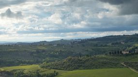 Landscape of Tuscany: The hills of Chianti south of Florence. Landscape of Tuscany: hills, farmhouses, olive trees, cypresses, vineyards. The hills of Chianti stock photos