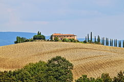 Landscape in Tuscany with luxury villa and cipress Stock Images