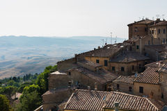 Landscape in tuscany, medieval village Royalty Free Stock Photos
