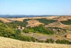 The landscape of Tuscany at sunrise, Italy. Royalty Free Stock Photos