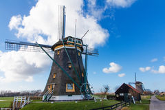 Landscape Two aligned windmills Stock Photography