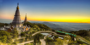 Landscape of Two pagoda at Doi Inthanon. Chiangmai - Thailand, between sunset time royalty free stock photography