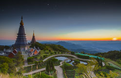 Landscape of  Two pagoda at Doi Inthanon Royalty Free Stock Images