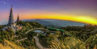 Landscape of  Two pagoda at Doi Inthanon Royalty Free Stock Photo