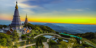 Landscape of Two pagoda at Doi Inthanon. Chiangmai - Thailand, between sunset time stock photography