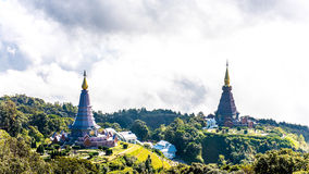Landscape of two pagoda, place leisure travel in an Inthanon mou Royalty Free Stock Photo