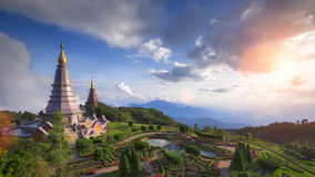 Landscape of two pagoda on the top of Inthanon mountain. Chiang Mai, Thailand royalty free stock photos