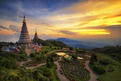 Landscape of two pagoda on the top of Inthanon mountain Royalty Free Stock Photography