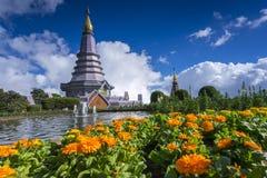 Landscape of two pagodas Noppamethanedol & Noppapol Phumsiri in an Inthanon mountain. Royalty Free Stock Photos