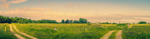 Landscape with two roads Royalty Free Stock Image