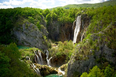 Landscape with two waterfalls in mountains Stock Image