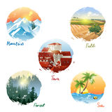 Landscape types. 5 different landscape types - mountains, fields, town, forest and sea Royalty Free Stock Photo