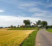 Landscape with typical church on Funen Stock Photography