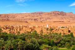 Landscape of a typical moroccan berber village with oasis in the Stock Photo