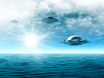 Landscape with UFO. Fantastic  cloudy landscape with UFO and ocean. Illustration rendering 3d Royalty Free Stock Photo