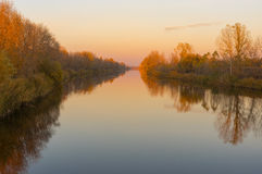 Landscape with Ukrainian river Orel at sunset time Royalty Free Stock Photo
