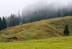 Landscape under the fog in Austria royalty free stock photography