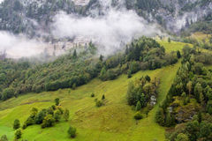 Landscape under the fog in Austria royalty free stock photo