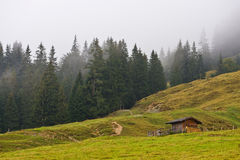 Landscape under the fog in Austria stock photography