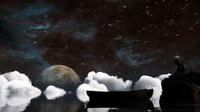 Landscape under the Milky way. Elements of this image furnished by NASA. 3D Illustration Royalty Free Stock Images
