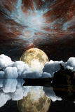 Landscape under the Milky way. Elements of this image furnished by NASA. 3D Illustration Stock Photos