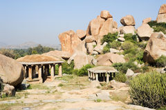 Landscape with unique mountain formation at Hampi Royalty Free Stock Photos