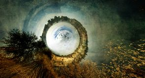 The landscape of an unknown and fantastic world called the `White Hole`. Royalty Free Stock Photos