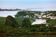 Landscape of unseen mountains and sea, View from top of the hill Royalty Free Stock Images