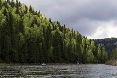View of the Ural river Usva, the Chusovaya tributary royalty free stock image