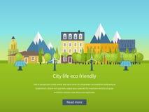 landscape urban Επίπεδη διανυσματική έννοια σχεδίου Στοκ εικόνες με δικαίωμα ελεύθερης χρήσης