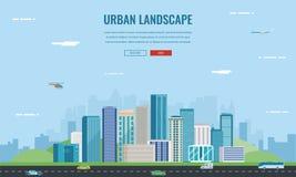 landscape urban πόλη σύγχρονη Αρχιτεκτονική οικοδόμησης, πόλη εικονικής παράστασης πόλης Πρότυπο ιστοχώρου έννοιας διάνυσμα Στοκ Εικόνα