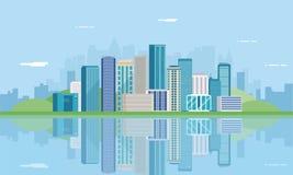 landscape urban πόλη σύγχρονη Αρχιτεκτονική οικοδόμησης, πόλη εικονικής παράστασης πόλης διάνυσμα Στοκ φωτογραφία με δικαίωμα ελεύθερης χρήσης